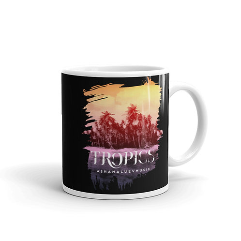Black Glossy Mug with Tropical Picture