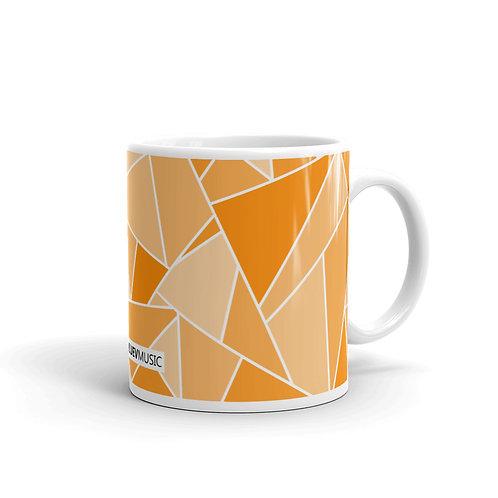 White Glossy Mug with Orange Geometric Pattern