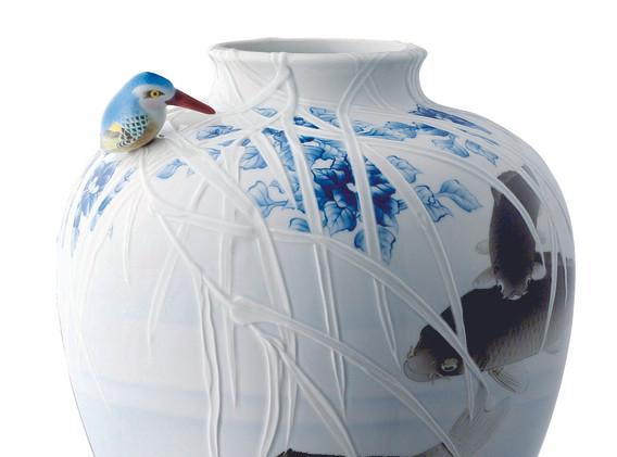 Kingfisher & Carp Vase   Koransha US   Arita porcelain