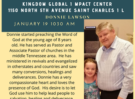 Sunday 19 January Guest Speaker Donnie Lawson  At KGIC