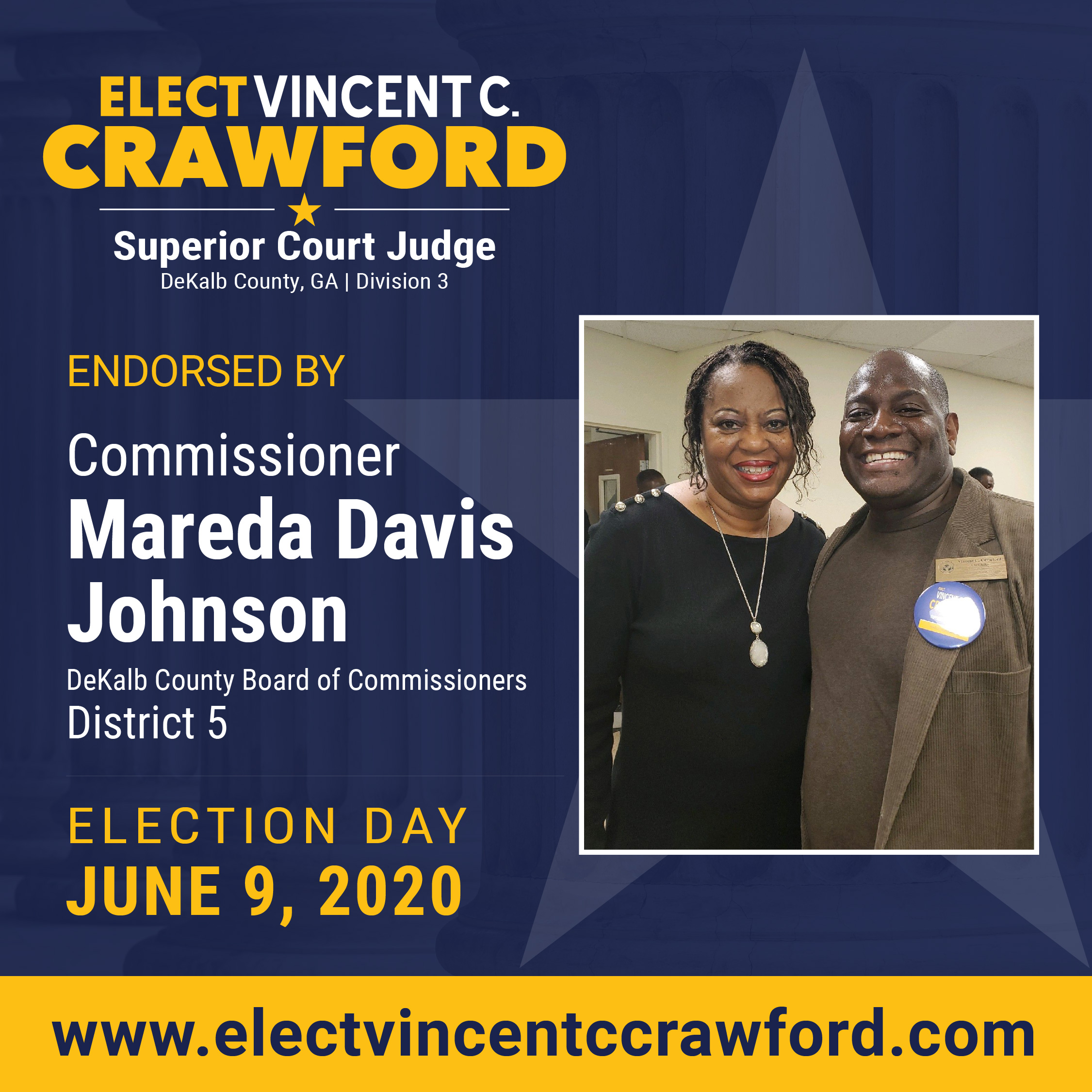 Judge Crawford receives endorsement from DeKalb County Commissioner Mareda Davis Johnson