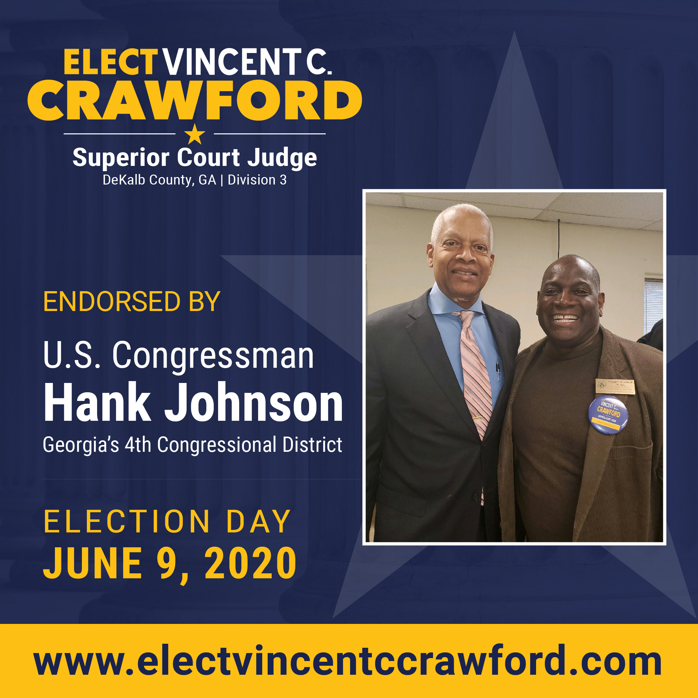 Judge Crawford receives endorsement from U.S. Congressman Hank Johnson