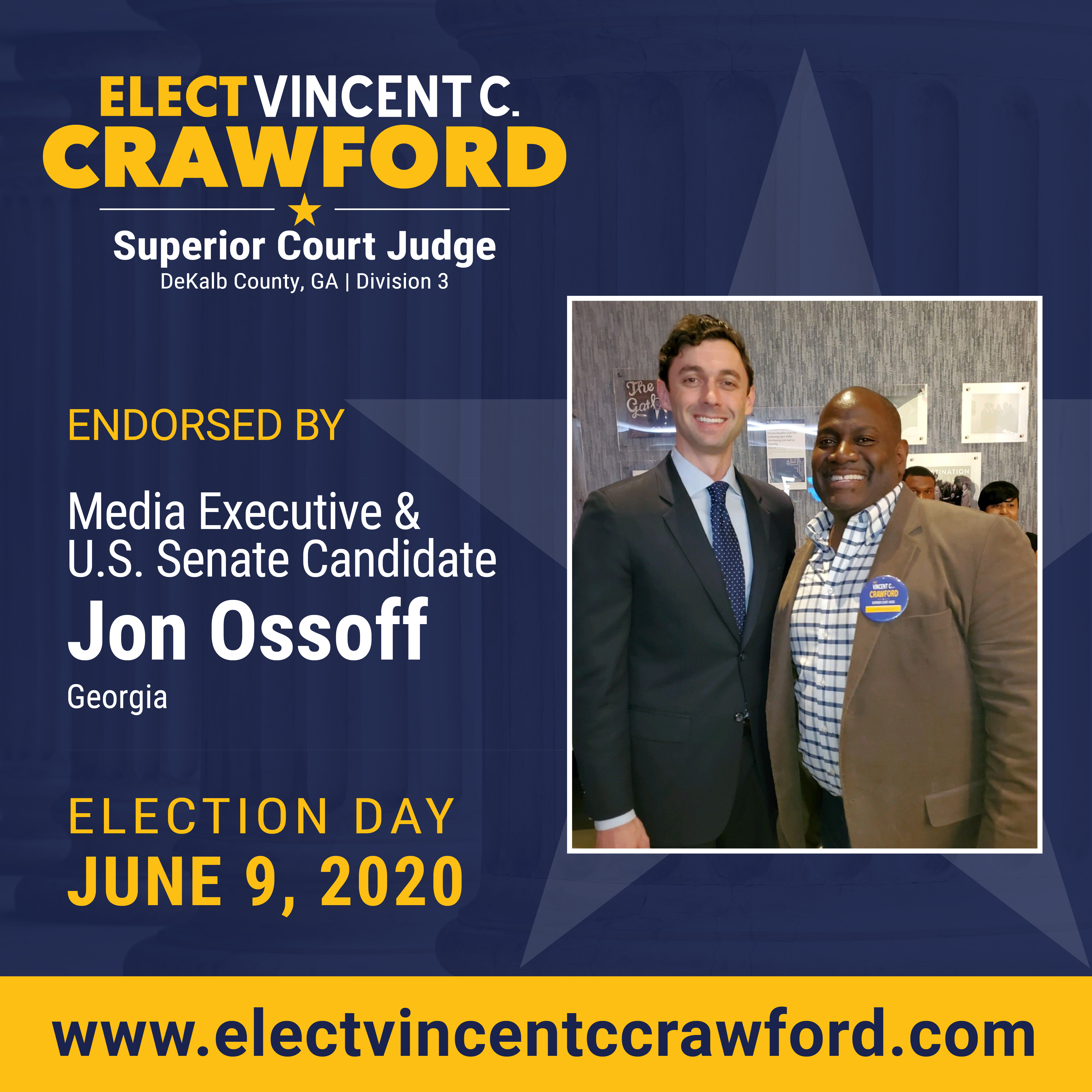 Judge Crawford receives endorsement from U.S. Senate candidate Jon Ossoff
