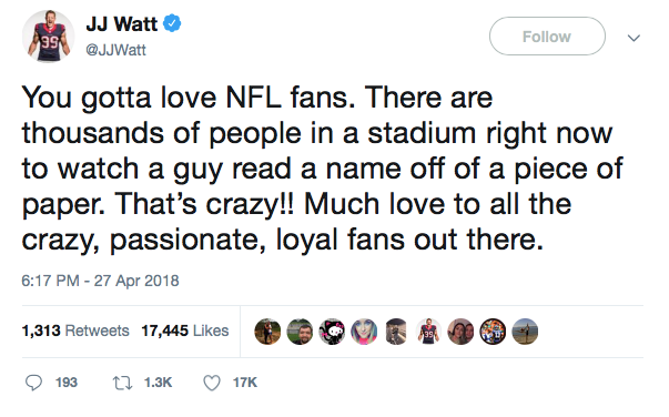 JJ Watt on Twitter engaging with his fan's