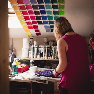 Artist Cherrie Mansfield in her studio