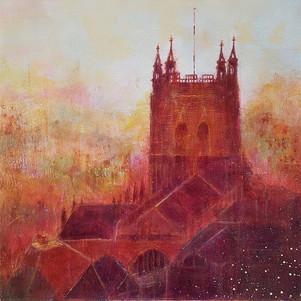 Malvern Priory in Mist