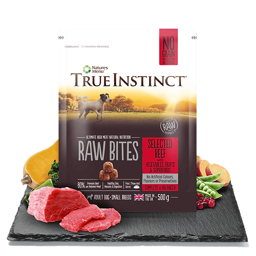 True Instinct Small Breed Raw Bites Selected Beef