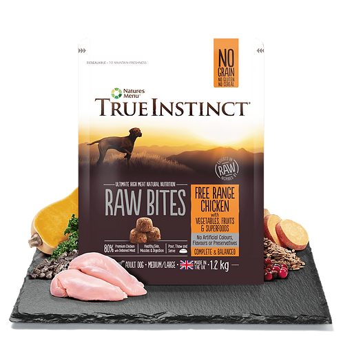 True Instinct Raw Bites Selected Chicken For Adult Dogs 1.2kg