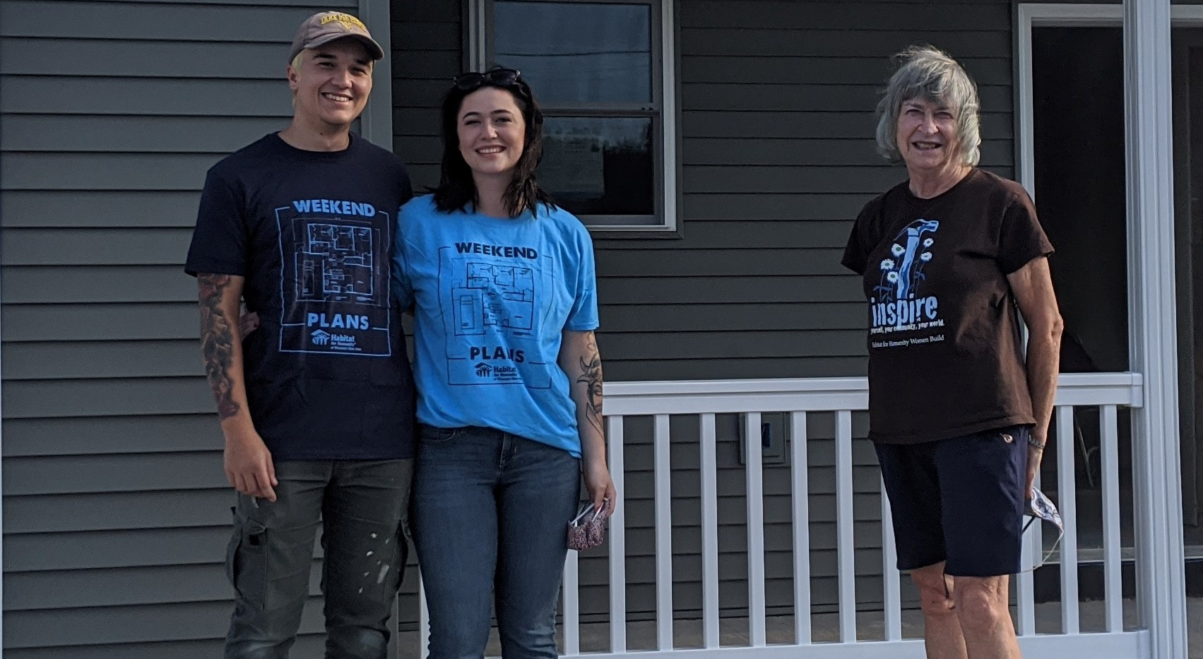Mike and Akira with mentor Lila at new Portage build