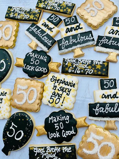 """50 is Fabulous"" Birthday Cookies"