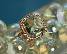 14Kt Rose Gold Dia and Green Garnet Ring