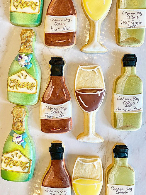 Champagne and Wine Decorated Cookies Chardonnay Pinot Noir Cabernet Champagne