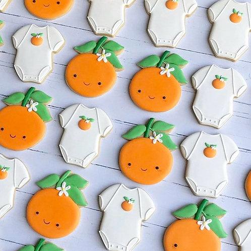 Baby Shower Reveal Party 1 Dozen Custom Decorated Cookies Tangerines Oranges