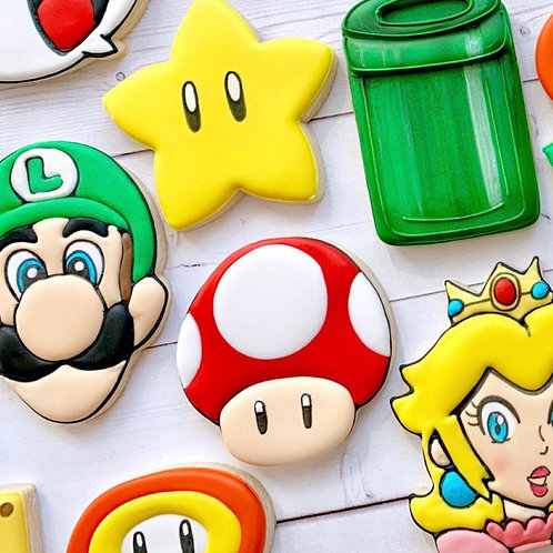 Super Mario Brothers 1 Dozen Custom Decorated Cookies Luigi Yoshi Daisy Princess