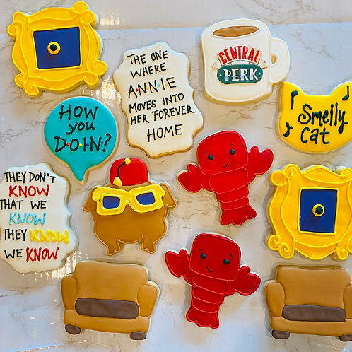 "Friends TV  Decorated Cookies, Smelly Cat, ""The One Where...,"" Central Perk"