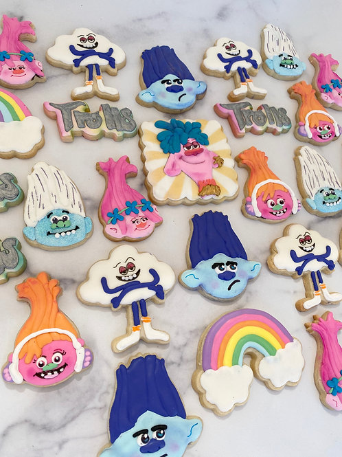 Trolls  1 Dozen Custom Decorated Cookies Poppy Branch Guy Diamond  DJ Suki