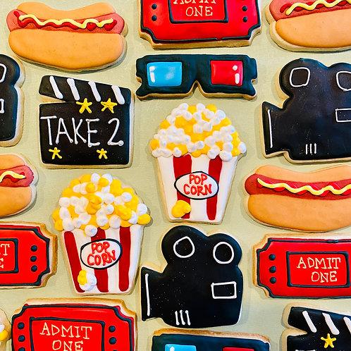 Movie Night 1 Dozen Custom Decorated Cookies Popcorn 3D Glasses, Camera