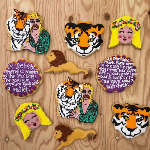 Tiger King 1 Dozen Custom Decorated Cookies Joe Exotic Carol Baskin Lions