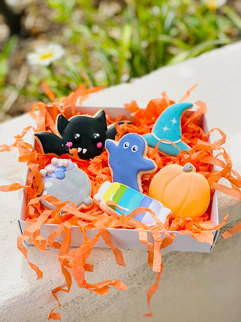 """Halloween Cookie Gram""  Bat Cauldron Ghost Haunted House Pumpkin Witch's Hat"