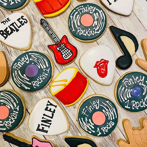 Rock 'n Roll Cookies, Guitar Pics, LP's, Drums, the Beatles