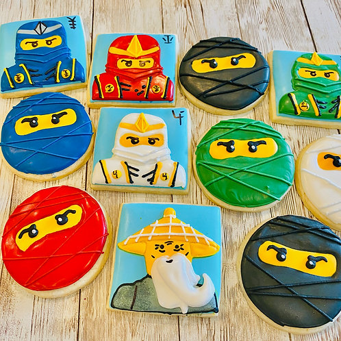 Lego Ninjago Warriors 1 dozen Custom Decorated Cookies Lloyd Kai Cole Zane