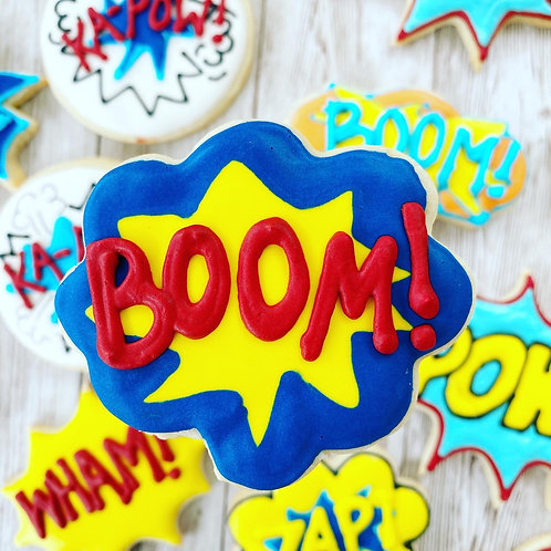 Zap Pow Wham Boom 1 Dozen Custom Decorated Cookies Batman TV Retro