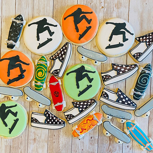 Checkers and Skateboards 1 Dozen Custom Decorated Cookies