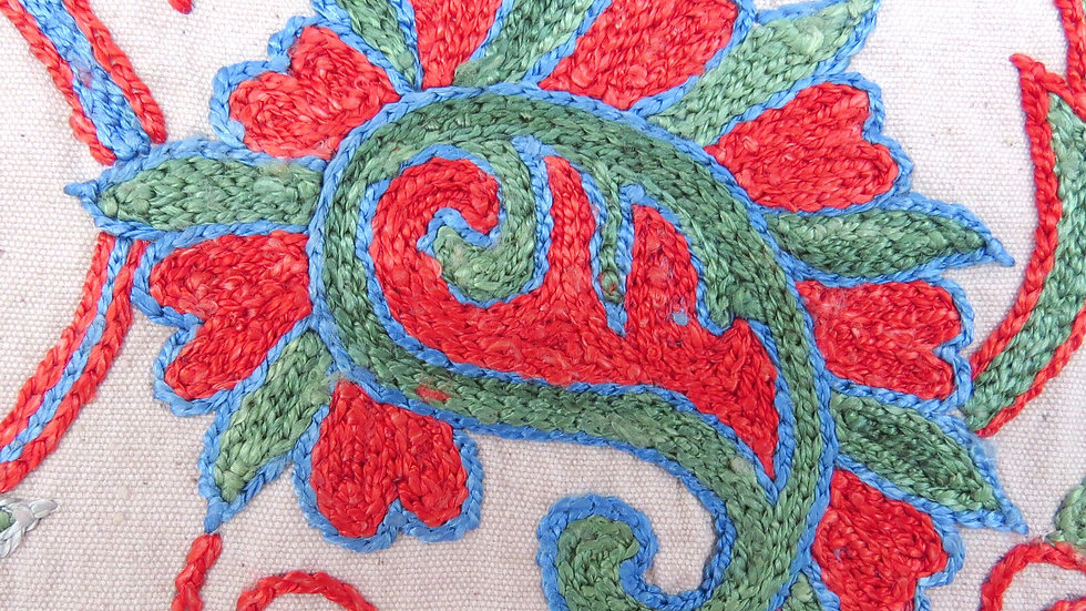 Paisley suzani embroidered cushion cover