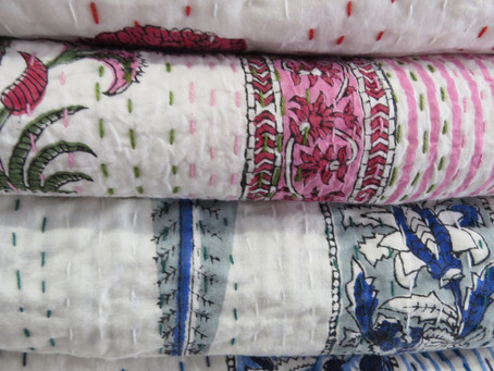 Cosy handmade block print quilts for winter nights