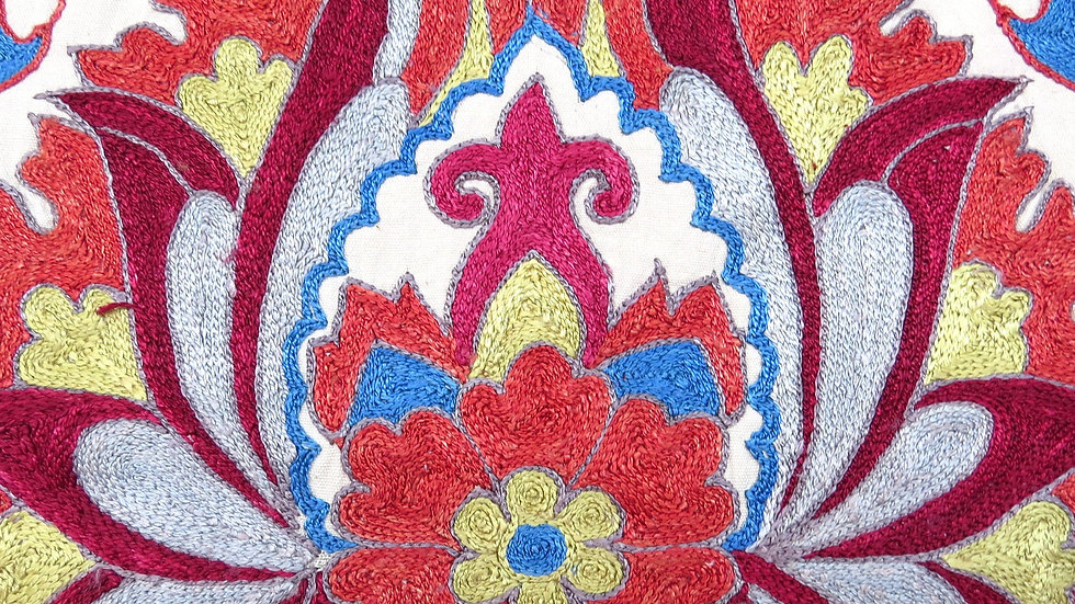 Suzani embroidered  floral  cushion cover