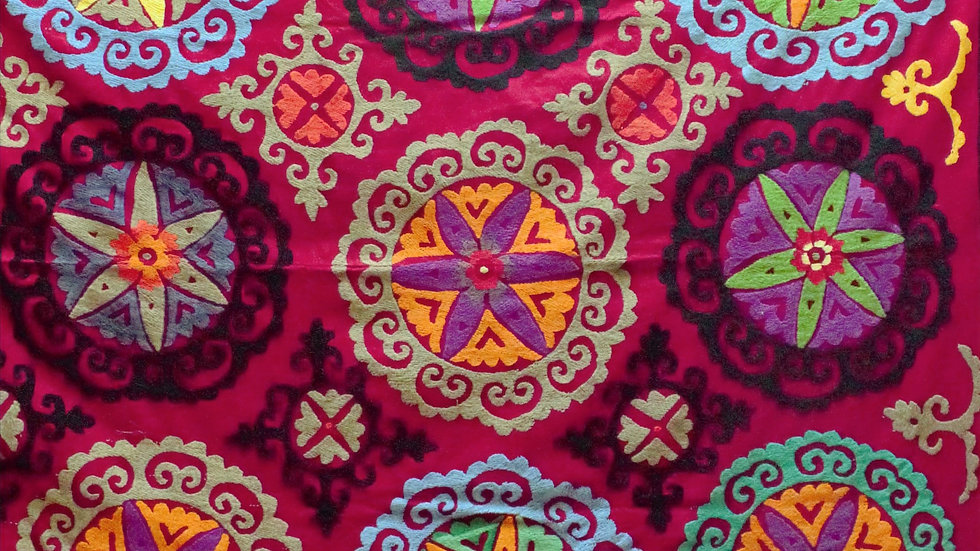 Suzani with flower roundels vintage embroidered wall hanging