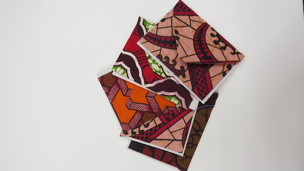 African Fabric Cards - Red set of 5