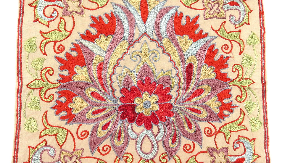 Suzani embroidered  flower cushion cover