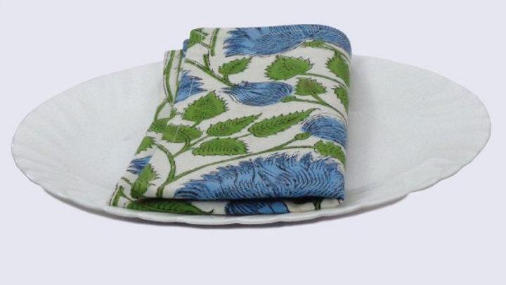 Napkins Block printed with aqua flowers - Set