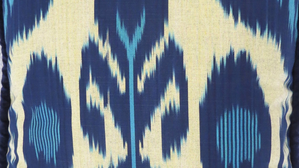 Ikat cushion cover with tulip design
