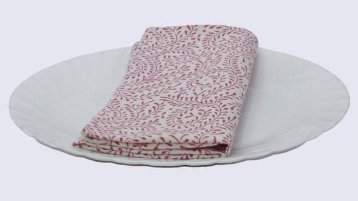 Napkins Block printed with pink leaves- Set