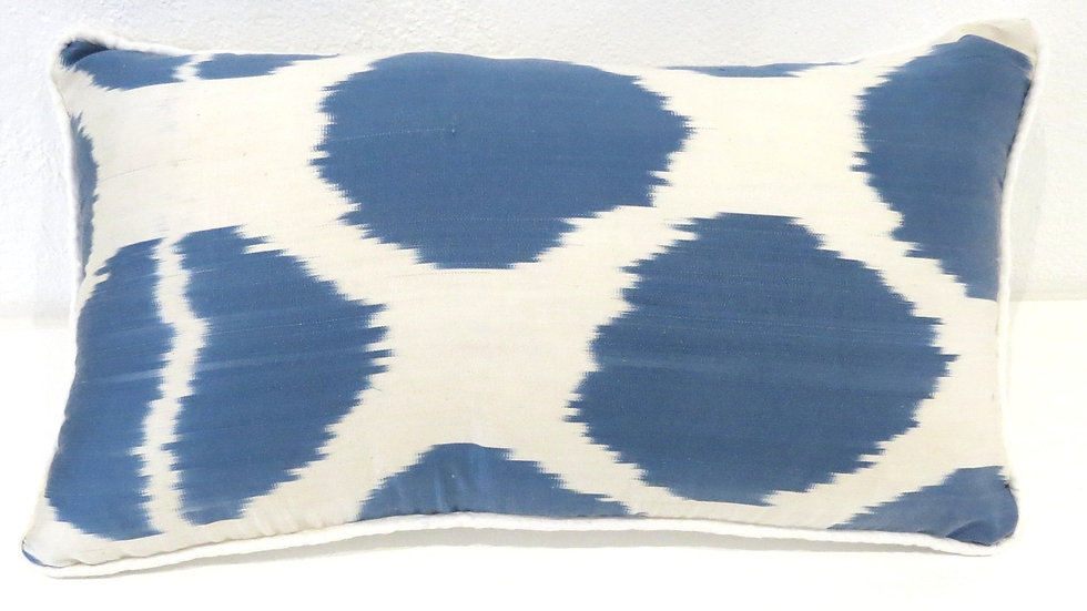Sea blue and white spot silk ikat cushion cover