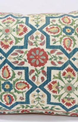 Suzani cushion cover hand stitched in paisley tile design