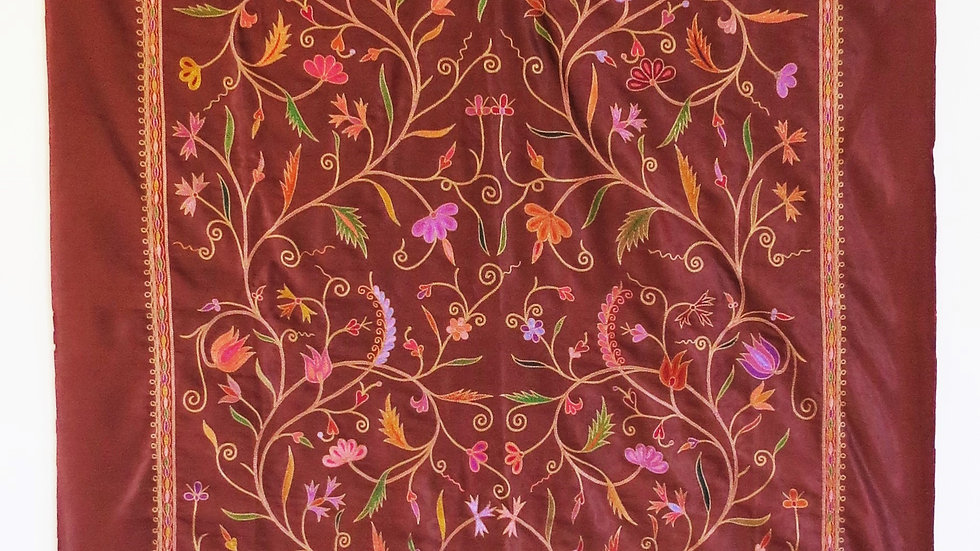 Flower panel in Ari embroidery from India