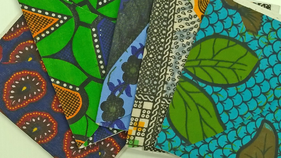 African Fabric Cards - Mixed set of 5