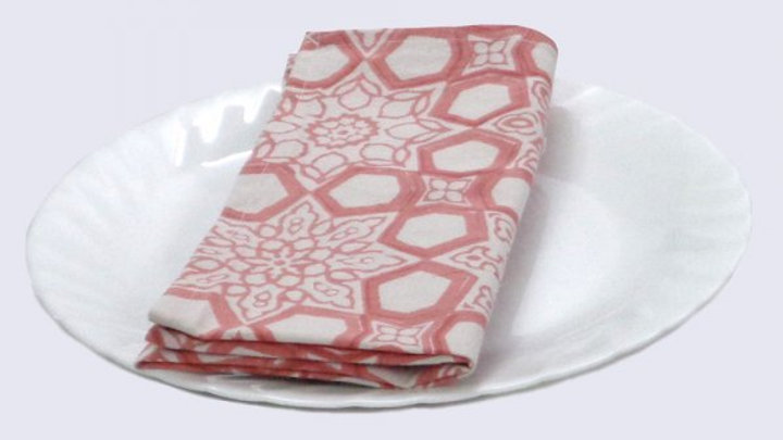 Napkins Block printed with red geometric design - Set