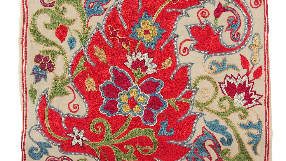 Red Paisley suzani embroidered cushion cover