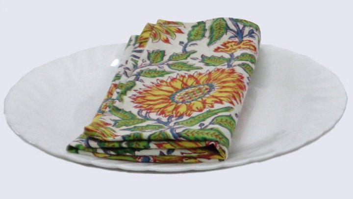 Napkins Block printed with  sunflower design -Set