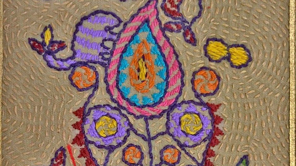 Paisley -Hand Stitched Greeting Card