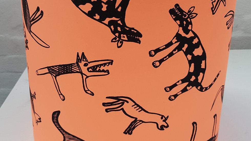 Australian Aboriginal Fabric Lampshade: Cheeky Dogs