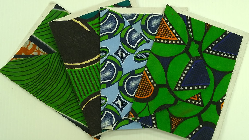 African Fabric Cards - Lime set of 5