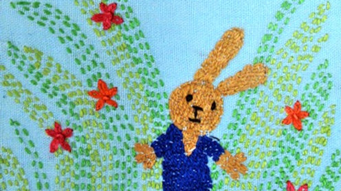 Blue Bunny Hand Stitched Greeting Card