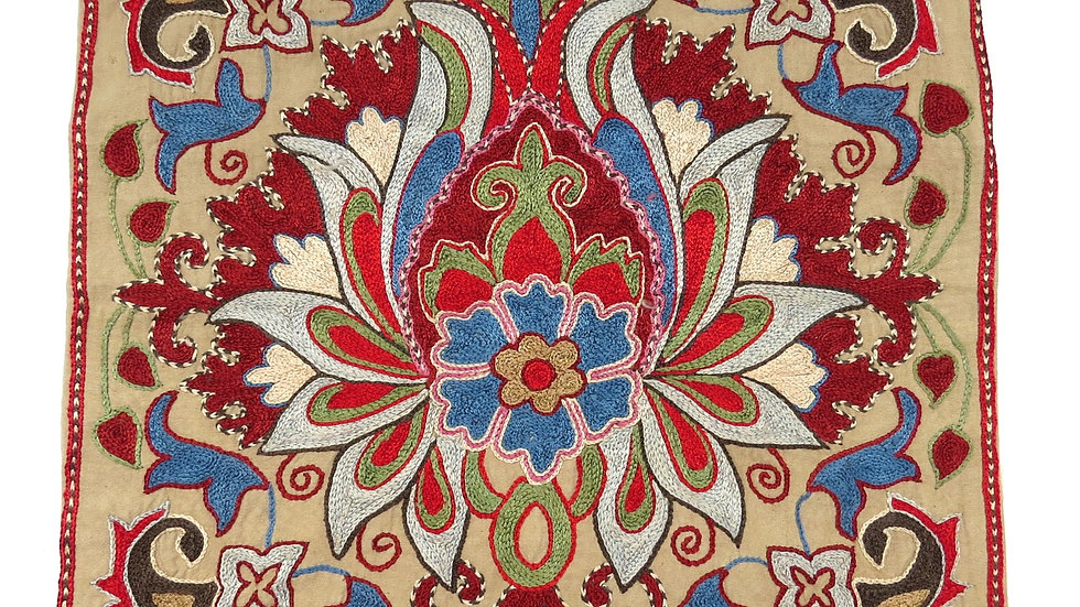 Floral suzani hand embroidered cushion cover