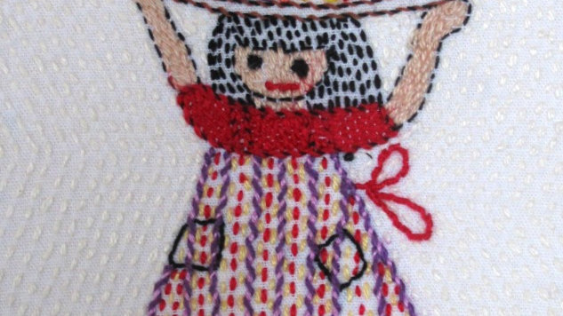 Flower Girl -Hand Stitched Greeting Card