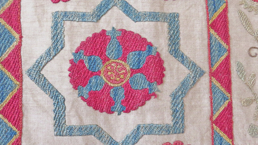 """Geometry"" Vintage  suzani embroidered wall hanging"